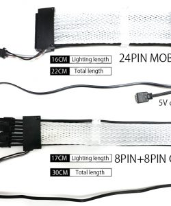 RGB Rainbow Cable Motherboard 24PIN Extension Cord ,8P(8+8) GPU Extension Cable Neon line