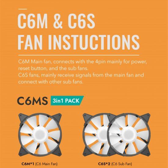 DarkFlash ARGB Fan 120mm 3 Fans C6 PC Case Fan